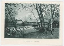 ANTIQUE WEIR WATER RIVER DAM WHEEL HOUSE TREES LANDSCAPE MINIATURE ART PRINT