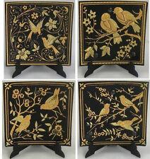 Damascene Gold Bird Design Square Decorative Plate by Midas of Toledo Spain 2923