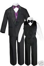 Boy Satin Shawl Lapel Suits Tuxedo EXTRA Eggplant Bow Tie Vest Sets Outfits S-18