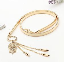 Crystal Metal Feather Leaf Tassel Elastic Stretch Waistband Waist Belt Chain