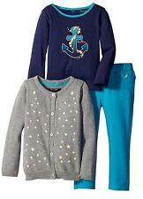 NAUTICA Girls 12 24 Mo 4T Gray Blue NEW Toddler Shirt Pants Cardigan 3Pc Outfit