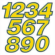 sticker number yellow blu adesivi numeri moto gialli blu neri 2 pz. cm. 10-5
