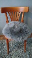 Stuhlauflage Sitzauflage Sitzkissen Kissen Lammfell Schaffell grau rund 40cm