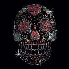Sugar Skull T Shirt Rhinestone Studs Floral Gothic Mens Fashion Fit Small to 4XL