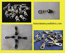 Zipper slider - CHUNKY ZIP  3 or 5 -  SILVER Black Antique Brass Gold Zip Slider