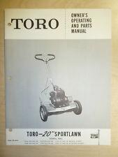"TORO MOWER OPERATING PARTS MANUAL SPORT LAWN 20"" 10118 1000 THRU 10129 500 & UP"