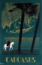 Vintage Cáucaso Rusia Unión Soviética cartel turístico A3 impresión