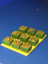 Vasi in legno verde quadrati per plastici H0 - N pezzi 9 - KREA
