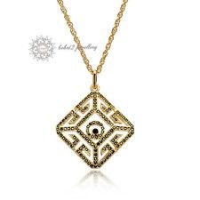Howllow-out/Diamond Shape Pendant Necklace/Simulated Black Diamond/RGN315