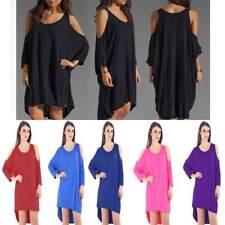 New Women 3/4 Sleeve Cold Shoulder Hi Lo Dress Top Loose Fit Casual Baggy Top