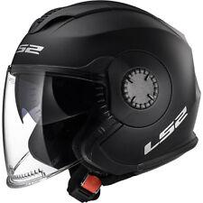 LS2 OF570 Open Face DVS Motorbike Motorcycle Helmet Crash Verso Solid Matt Black