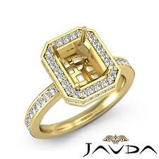 Pave Diamond Engagement Ring Emerald Semi Mount 18k Yellow Gold VS1-VS2 0.89Ct
