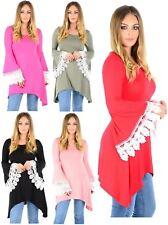 New Womens Crochet Sleeve Flared Hanky Swing Dress 8-22