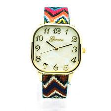 Geneva Womens Square Face Colorful Rainbow Weave Fabric Strap Wrist Watch