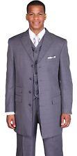 """Men's Polyester Fancy Check Desig 4 Button Suit 35 """" Jacket with Lapel Vest 9151"""