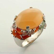 CLEARANCE Sterling Designer Peach Moonstone Cobblestone Ring