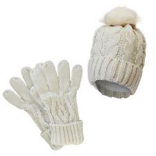 Ladies Warm Acrylic Heat Machine Thermal Winter Hat & Gloves Set Pink Purple Gry