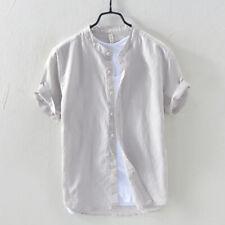 Men Linen Cotton Shirts Summer Short Sleeve Mandarin Collar Shirt for Men TS-399