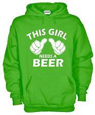 Felpa KJ687 This Girl Needs a Beer Fun Hoodie Cappuccio Irish Birra