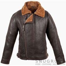 Original Para Hombre Aviator Flying chaqueta de cuero napa color piel y Piel de oveja (blencaramel)