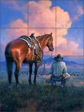 Ceramic Tile Mural Backsplash Shower Sorenson Western Cowboy Cattle Art RW-JS047