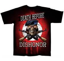 Death Before Dishonor Skulls BLACK Adult T-shirt (slick CT10002)
