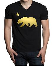 Men's Shiny Gold Cali Bear V-Neck Black T-Shirt California Dope Street Swag Tee