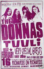 DONNAS 2001 VANCOUVER CONCERT TOUR POSTER-GARAGE PUNK