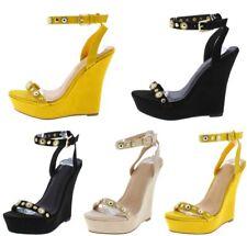 Summer Trend Open Toe studded Embellished Platform Wedges High Heels Sandals W50