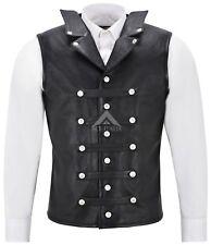 Mens PUNK Bikers Vest Rock Studded Waistcoat Black Real Leather Laced Vest 1458