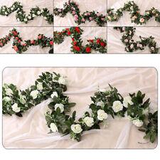 240cm-Artificial Flower Silk Rose Leaf Garland Vine Ivy Wedding Home Room-Floral
