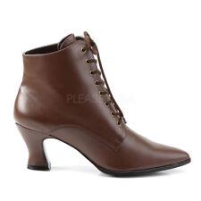 Brown Vintage Edwardian Costume Ankle Walking Half Boots Womans size 7 8 9 10 11