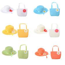 Cute Girls Kids Beach Summer Sun Hats Bags Flower Straw Hat Cap Handbag Suit BDA