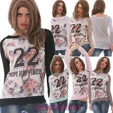 Maglia donna tricot stampa sport fiori asimmetrica uncinetto nuovo AS-5030