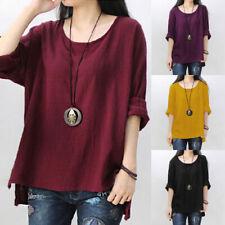 Women Ladies Long Sleeve Cotton Linen Baggy Casual T-Shirt Tops Blouse Plus Size