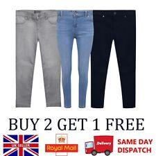 Girls Skinny Jeans Kids Adjustable Waistband Navy Grey Denim 4-16 Years