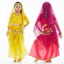 KID's Blouse+Skirts+Belt+Head scarf 5pcs set Belly Dance Costume Dancewear NEW