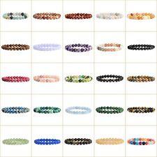 "8mm Fashion round & Carved gemstone bone shell beads stretchable bracelet 7"""