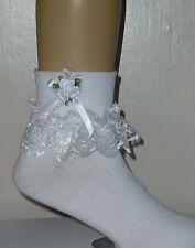 """Filles blanc dentelle froncée chaussettes taille beaucoup de tailles nœud blanc et perles """""""