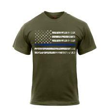 Rothco Thin Blue Line T-Shirt Black Olive Tan S,M,L,XL,2X,3X,4X,
