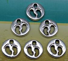 20/60/100pcs retro style lovely footprints  alloy charms pendants 11x11mm