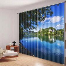 Lake Geneva Landscape 3D Blockout Photo Printing Curtains Draps Fabric Window