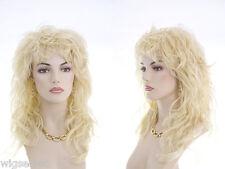 Glamorous Women's Rocker Look Long Tousled Layers Blonde Wavy Wigs Frames Face