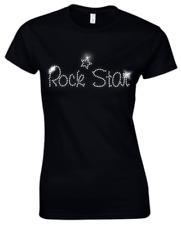 ROCK STAR-CRYSTAL Donna Aderente T SHIRT-Strass - (tutte le dimensioni)