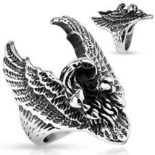 Stainless Steel Flying Eagle Men's Biker Ring Size 9-14
