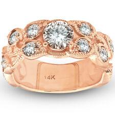 Women's 2ct Vintage Rose Gold Diamond Engagement Ring 14K