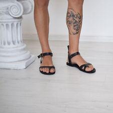 mens genuine leather gladiator sandals strap ankle high Roman Greek Sparta black