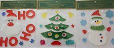 (3) Reusable Window Gel Art, Christmas. Holidays Seasons Collection