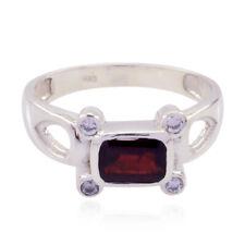 schöne Edelstein Octogon facettierten Granat Ring  Sterling Silber rot Granat DE