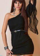 SeXy Miss Damen Chiffon Mini Kleid one Shoulder Arm Dress 34 36 38 40 schwarz